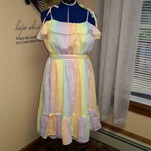 Vintage 1980s rainbow dress